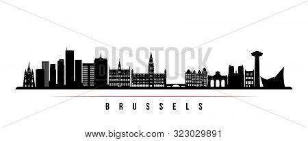 Brussels Skyline Horizontal Banner. Black And White Silhouette Of Brussels, Belgium. Vector Template