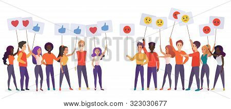 People Holding Emoji Posters Flat Vector Illustration. Social Satisfaction And Stratification Concep