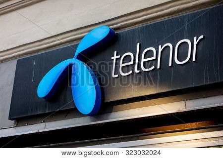 Stockholm, Sweden - April 20, 2019: The Blue Logo Of The Telenor Telecommunication Company At The St