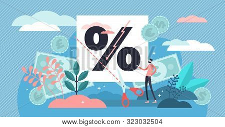 Rate Cut Vector Illustration. Flat Tiny Price Percentage Reduction Persons Concept. Reduce Federal F