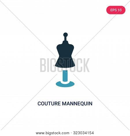couture mannequin icon in two color design style.