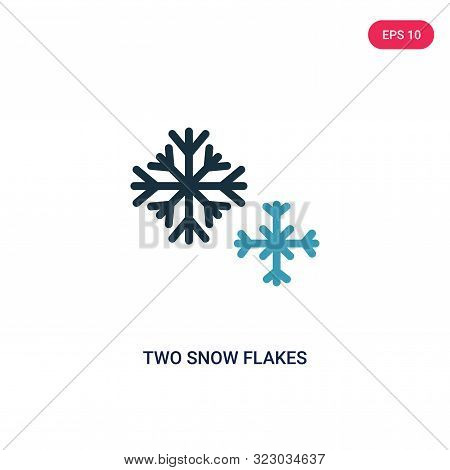 two snow flakes icon in two color design style. two snow flakes vector icon modern and trendy flat symbol for web site, mobile, app, logo, UI. two snow flakes colorful isolated icon on white background. two snow flakes icon simple vector