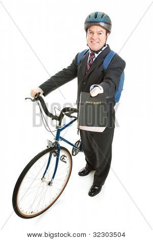 Religious missionary with his bicycle and bible.  Full body isolated on white.