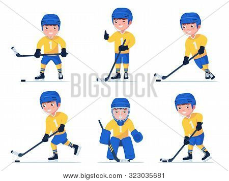 Set Of Boy Hockey Player Playing With A Stick And Puck In Different Poses. Child Plays Professional