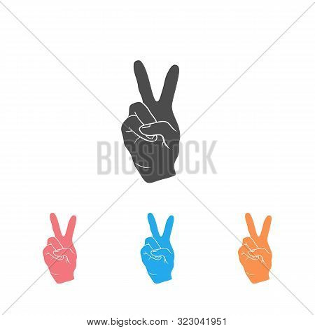 The Fingers Or Hand Signals Mean Peace. Icon Set Vector