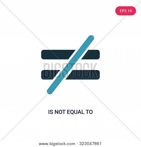 is not equal to icon in two color design style.