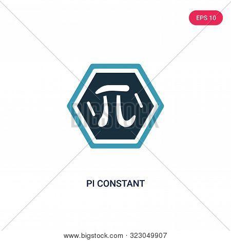 pi constant icon in two color design style.
