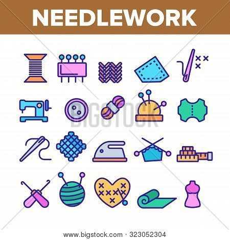 Needlework Collection Elements Icons Set Vector Thin Line. Pin And Button, Needle And Spool, Meter A