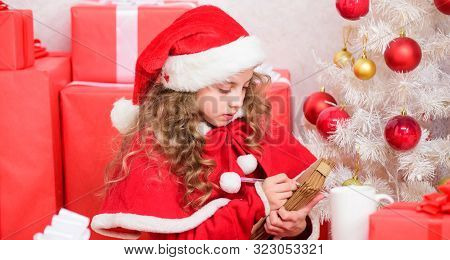 Send Letter For Santa. Wish List. Child Santa Costume Enjoy Christmas Eve. Child Write Letter To San