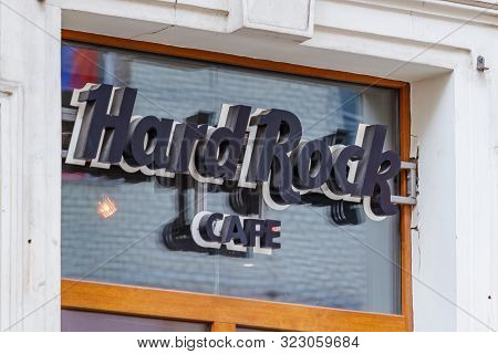 Moscow, Russia - September 13, 2019: Sign Of Hard Rock Cafe Close-up. Moscow Hard Rock Cafe In Downt
