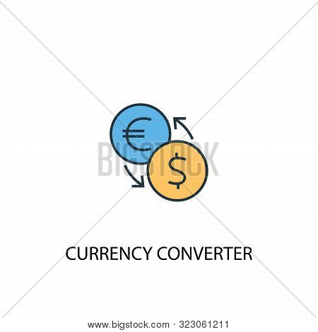 Currency Converter Concept 2 Colored Line Icon. Simple Yellow And Blue Element Illustration. Currenc