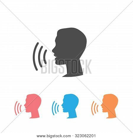 Voice Control Icon Set. Speak Or Talk Recognition Linear Icon, Speaking And Talking Command, Sound C