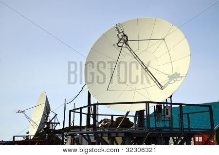 Paraboloid Antenna Against Blue Sky