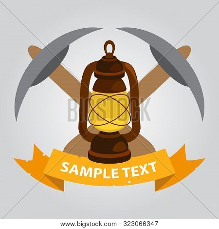 Pick Axes And Kerosene Lamp Icon. Vector Illustration.