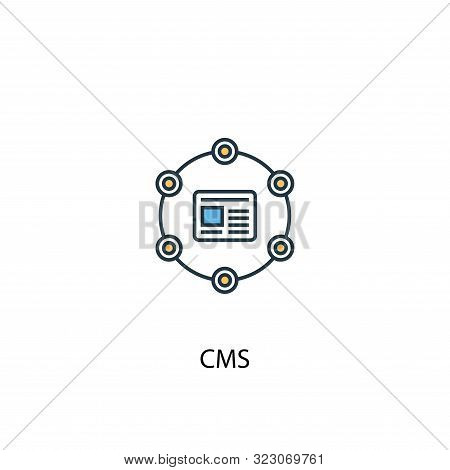 Cms Concept 2 Colored Line Icon. Simple Yellow And Blue Element Illustration. Cms Concept Outline Sy