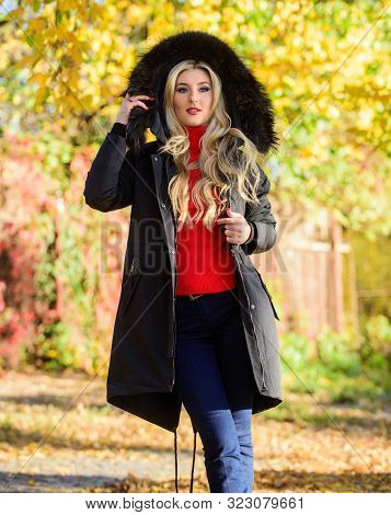 Youth Hipster Fashion Concept. Classic Parka Coat Has Become Wardrobe Icon. Versatile Functional And