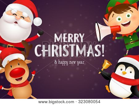 Christmas Postcard Design With Cute Reindeer, Penguin, Elf And Santa Holding Megaphone And Bell On P