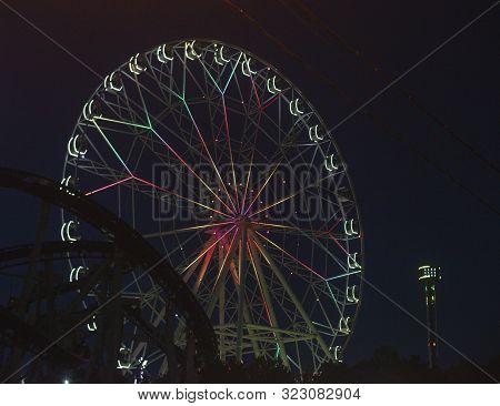 Anapa, Russia, July. 22, 2019. Ferris Wheel With Nightin Anapa