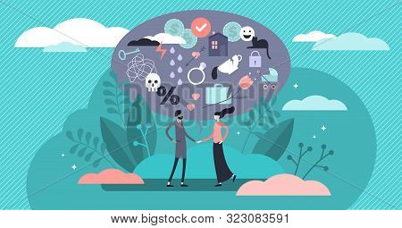 Relationship Vector Illustration. Flat Tiny Various Feelings Person Concept. Abstract Mutual Emotion