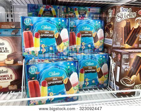 Pomorie, Bulgaria - September 06, 2019: Ice Cream In The Supermarket.