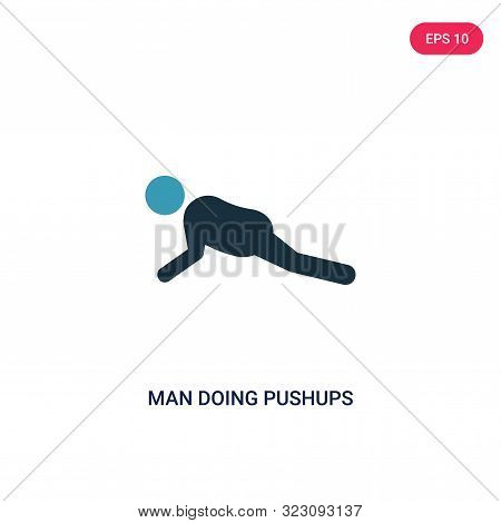 man doing pushups icon in two color design style.