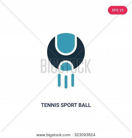 tennis sport ball icon in two color design style.