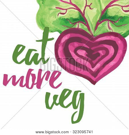 Typographic Banner With Hand Drawn Beetroot. Eat More Veg.