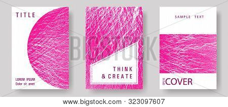 Catalog Cover Vector Templates. Plastic Pink Color Waves Textures. Corporate Finance Book Cover. Mar