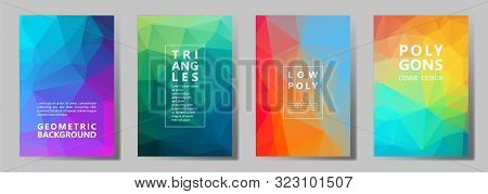 Facet Triangles Multicolor Banners, Posters, Flyers Vector Graphic Design Set. Crystal Texture Low P