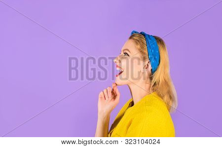Pin-up Girl. Expressive Facial Expressions. Smiling Retro Girl. Emotional Girl. Smiling Woman With C