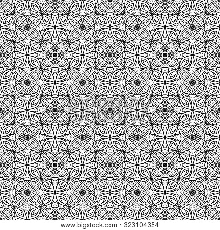 Abstract geometry tessellation seamless pattern tiles black on white. Vector illustration. Can be used for textile design, wallpaper, pattern fills, web page background, surface textures, floor tiles and other. poster