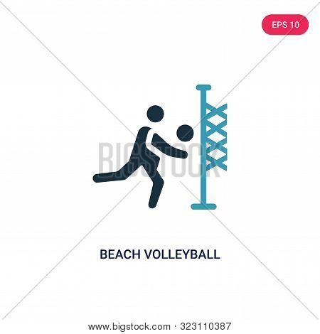 Beach Volleyball Icon In Two Color Design Style. Beach Volleyball Vector Icon Modern And Trendy Flat