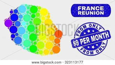 Spectrum Dot Reunion Island Map And Seals. Blue Round From Only Dollar 9 Per Month Textured Watermar