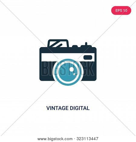 Vintage Digital Camera Icon In Two Color Design Style. Vintage Digital Camera Vector Icon Modern And