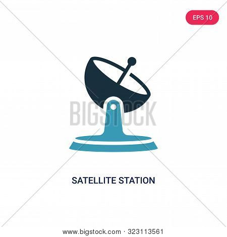 satellite station icon in two color design style.