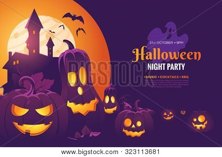 Halloween Night Party Invitation Poster Design. Halloween Illustration With Scary Pumpkins, Castle I