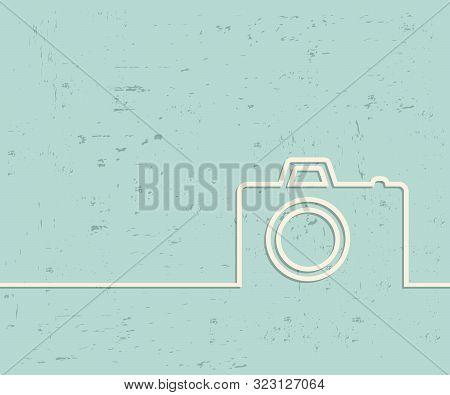 Creative Photo Camera. Art Illustration Template Background. For Presentation, Layout, Brochure, Log