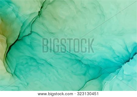 Turquoise And Green Ink Vector Texture. Splattered Green Watercolour Abstract Background. Hand Drawn