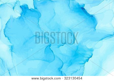Light Blue Alcohol Ink Wash Texture On White Paper Background. Hand Drawn Vector Texture With Shades