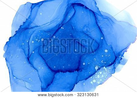 Blue Watercolor Wallpaper Background. Hand Drawn Ultramarine Vector Texture With White Splashes, Dro