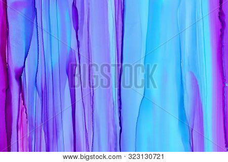 Vertical Colorful Brush Waves Alcohol Ink Texture Background. Hand Drawn Pink And Blue Abstract Pain