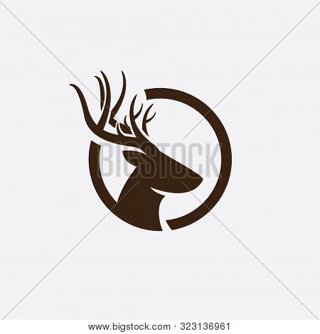 Deer Head Logo, Creative Deer Head Silhouette Monogram Logo Concept, Deer Head On Circle Logo, Deer