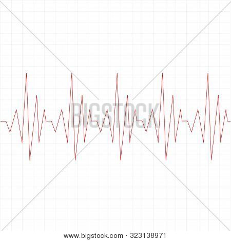 Heart Beat Cardiogram Icon On White Background. Flat Style. Heart Disease Cardiogram Icon For Your W