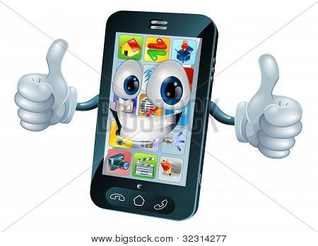 Happy Mobile Phone Mascot Character