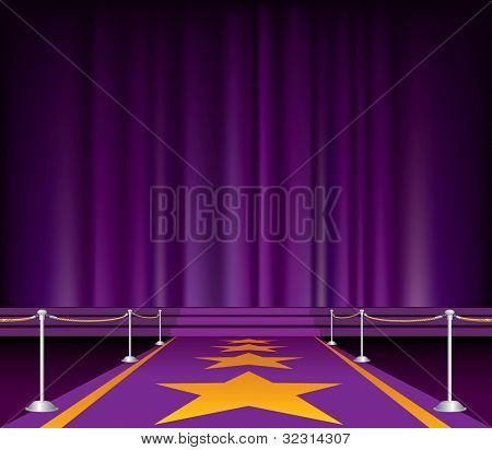 vector illustration of the purple carpet with stars