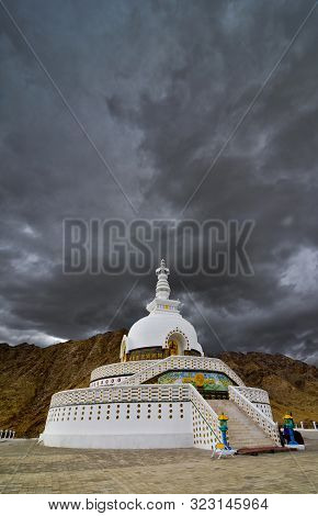 Shanti Stupa, Buddhist White-domed Stupa  Or Chorten On A Hilltop In Chanspa, Leh District, Ladakh,