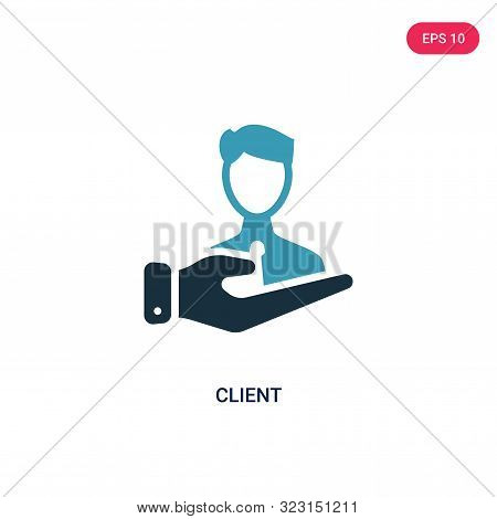 client icon in two color design style.