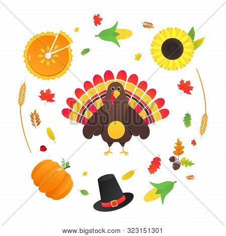 Happy Thanksgiving Day Flat Style Design Poster Vector Illustration With Turkey, Autumn Leaves, Sunf