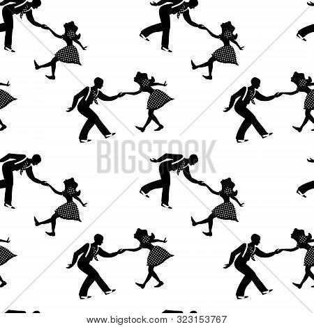 Seamless Pattern With Couples Dancing Jazz. Black And White Colors. 1940s And 1930s Style. Woman In