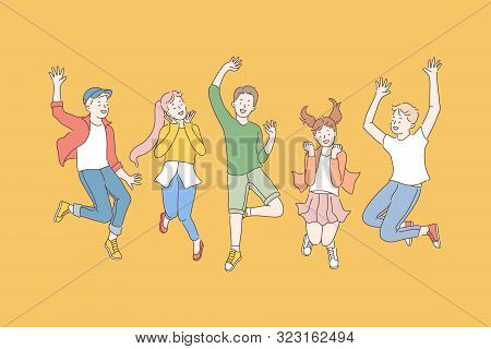 Childhood, Friendship, Party Concept. Group Of Happy Children Enjoy The Holidays. Smiling Teen Fans